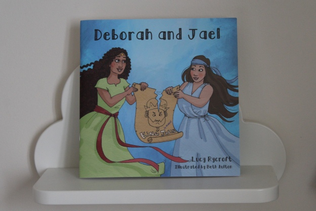 "A copy of the book ""Deborah and Jael' on a shelf"